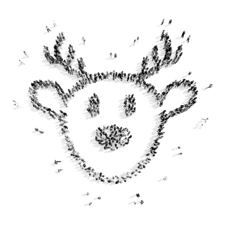 one year old: A group of people in the shape of deer, christmas, flash mob.3D illustration.black and white