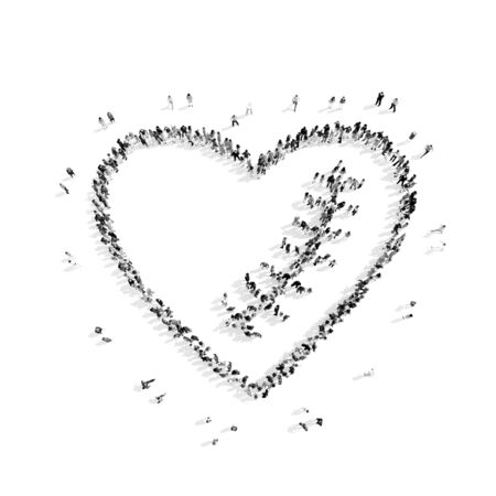 scar: A group of people in the shape of the heart, scar , flash mob.3D illustration.black and white