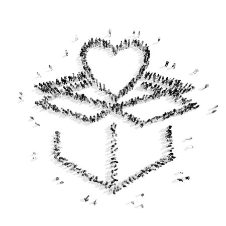 listening to heartbeat: A group of people in the shape of heart,  flash mob.3D illustration.black and white