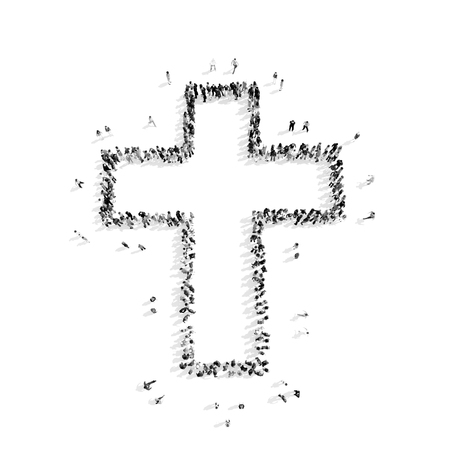 A group of people in the shape of a Catholic cross, religion, flash mob.3D illustration.black and white