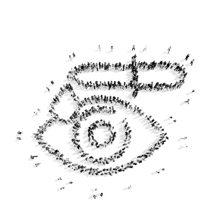A group of people in the shape of eye medicine, flash mob.3D illustration.black and white