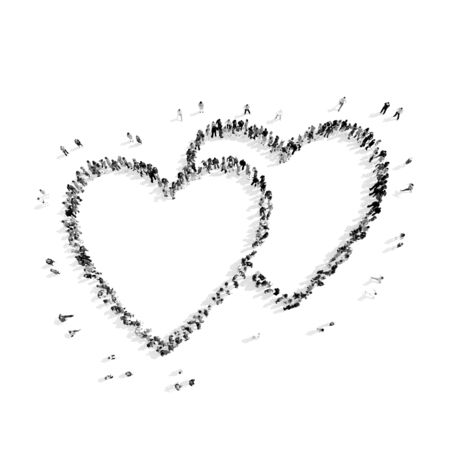 listening to heartbeat: A group of people in the shape of heart, cardio, flash mob.3D illustration.black and white