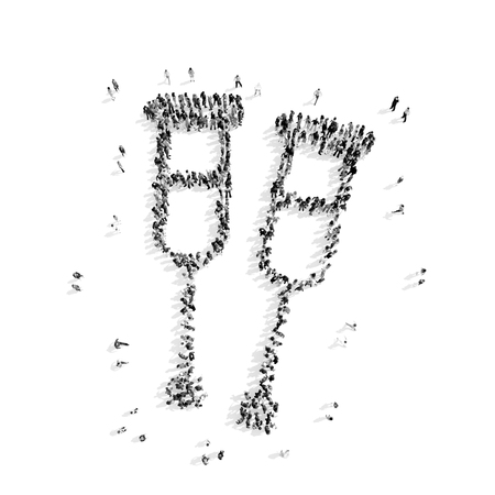 immobility: A group of people in the shape of crutches, medicine, flashmob.3D illustration.black and white