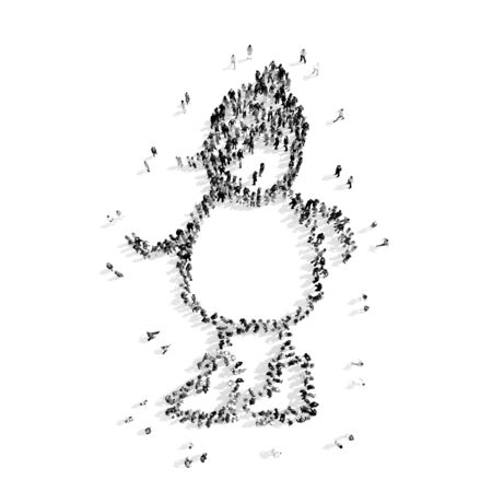 yard stick: A group of people in the shape of a snowman, christmas, flash mob.3D illustration.black and white Stock Photo