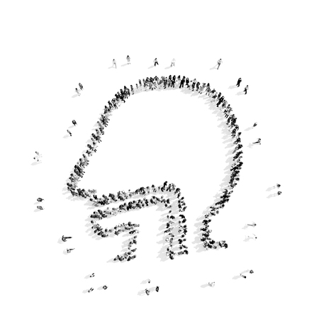 es�fago: Un grupo de personas en la forma de es�fago de un hombre, un destello blanco y mob.3D illustration.black