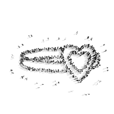 A group of people in the shape of a ring, heart, flash mob.3D illustration.black and white