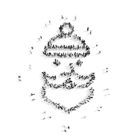 A group of people in the  shape of Santa Claus, Christmas, flashmob.3D illustration.black and white Stock Photo