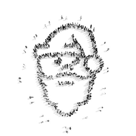 panting: A group of people in the  shape of Santa Claus, Christmas, flashmob.3D illustration.black and white Stock Photo