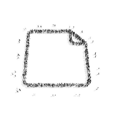 A group of people in the shape of a sheet, a flash mob.3D illustration.black and white