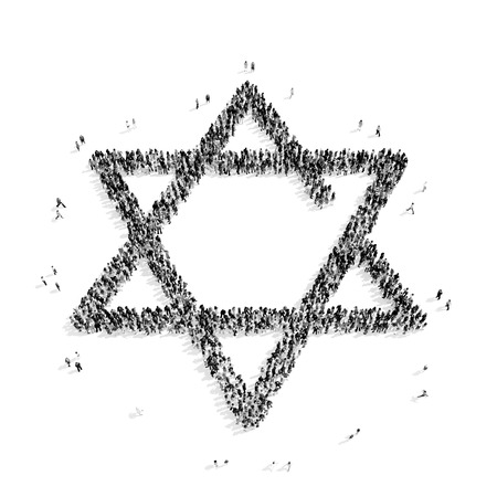 jewish star: A group of people in the shape of a Jewish star, religion, flashmob.3D illustration.black and white Stock Photo