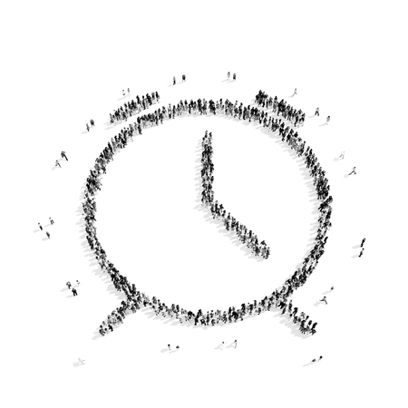 A group of people in the shape of watches, flash mob.3D illustration.black and white