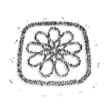 passion ecology: A group of people in the shape of a flower, a flash mob.3D illustration.black and white