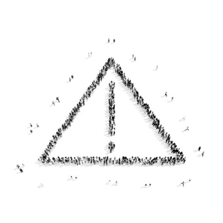 medium group of people: A group of people in the shape of an exclamation point, a flash mob.3D illustration.black and white