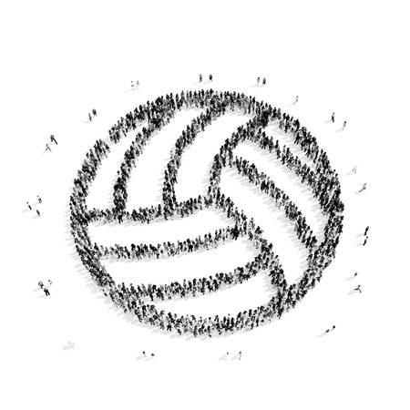blacks: A group of people in the shape of volleyball, sports, flash mob.3D illustration.black and white Stock Photo
