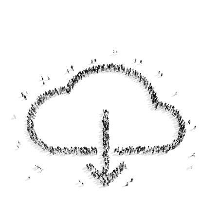 middle air: A group of people in the shape of clouds, a flash mob.3D illustration.black and white