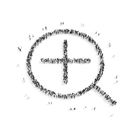 policia caricatura: Un grupo de personas en la forma de una lupa, de b�squeda, flash mob.3D illustration.black y blanco