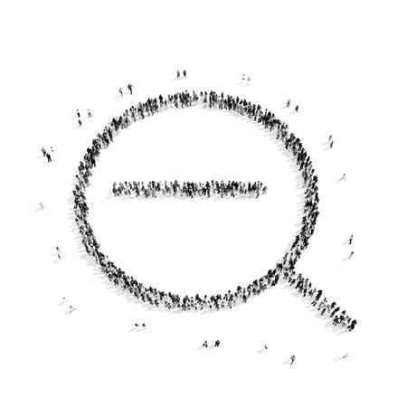 policia caricatura: Un grupo de personas en la forma de una lupa, de búsqueda, flash mob.3D illustration.black y blanco