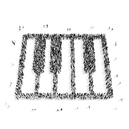 performing arts event: A group of people in the shape of a piano keyboard, a flash mob.3D illustration.black and white