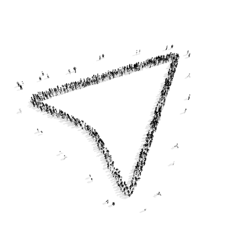 extreme terrain: Large group of people in the shape of a map pointer.Isolated, white background.3D illustration.black and white