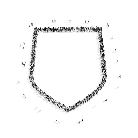 panoply: A group of people in the shape of a shield, protection, flash mob.3D illustration.black and white Stock Photo