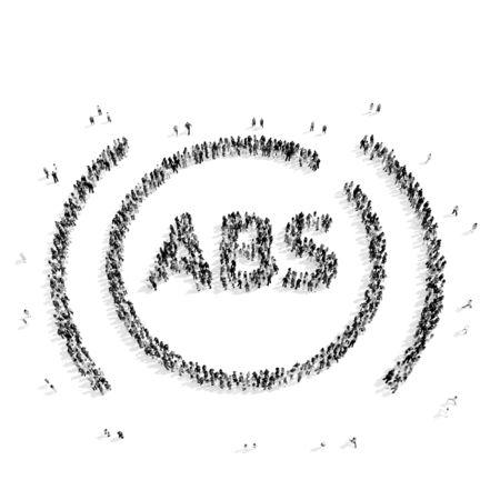 scarce resources: A group of people in the shape of the ABS system, the car, flash mob.3D illustration.black and white