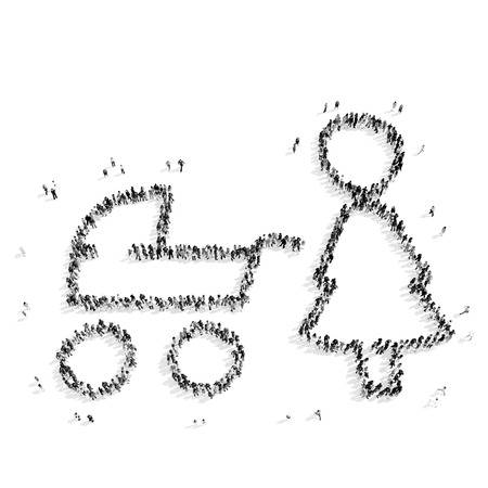 scarce resources: A group of people in the form of mother with a baby carriage, a child, a flash mob.3D illustration.black and white Stock Photo