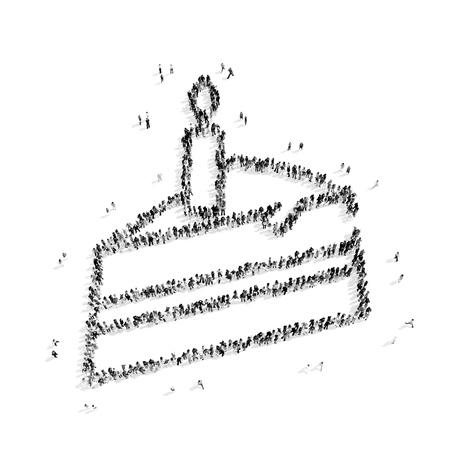 bombyx mori: A group of people in the shape of a piece of cake, a flash mob.3D illustration.black and white