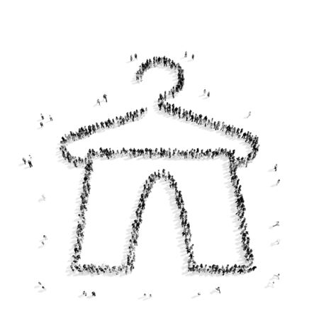 camisole: A group of people in the shape of a hanger, clothes, a flash mob.3D illustration.black and white Stock Photo