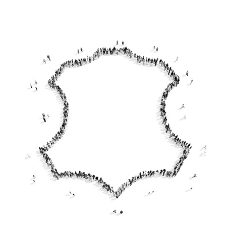 holistic view: A group of people in the shape of the frame, a flash mob.3D illustration.black and white Stock Photo