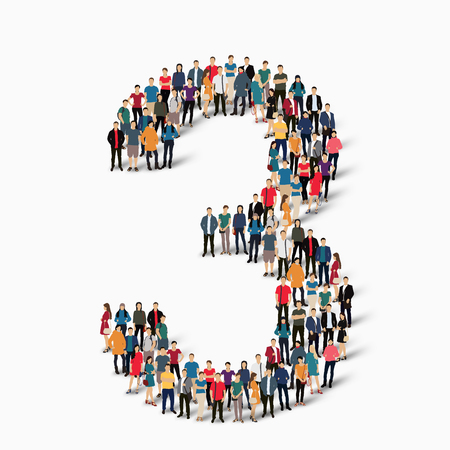 Een grote groep mensen in de vorm van de figuur 3. Een vector illustratie.