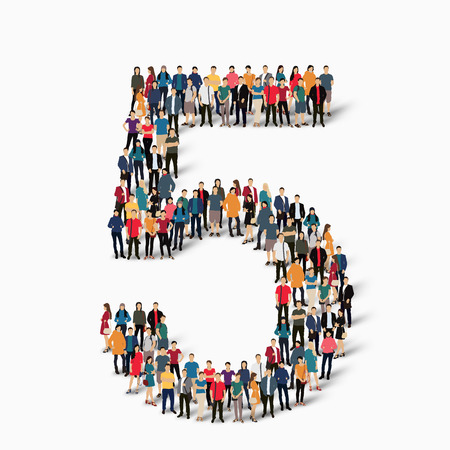 5 people: A large group of people in the shape of the figure 5. A vector illustration.