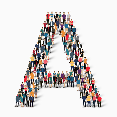 concepts alphabet: A large group of people in the shape of the letter A. Vector illustration. Illustration