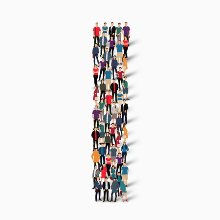 A large group of people in the shape of the letter I. Vector illustration.