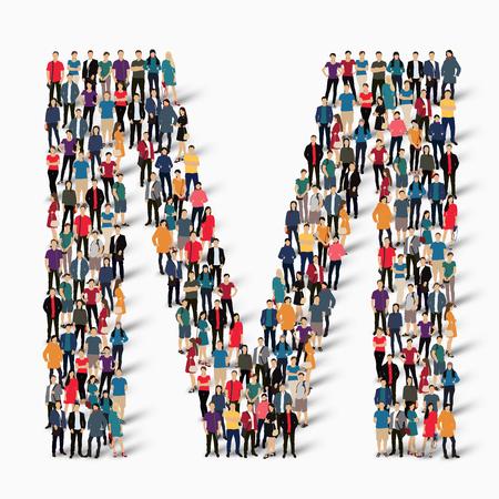 forme: Un grand groupe de personnes dans la forme de la lettre M. Vector illustration. Illustration