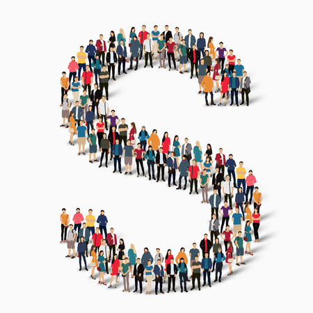 letter: A large group of people in the shape of the letter S Vector illustration.