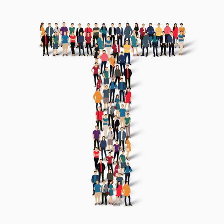 forme: Un grand groupe de personnes dans la forme de la lettre T. Vector illustration.