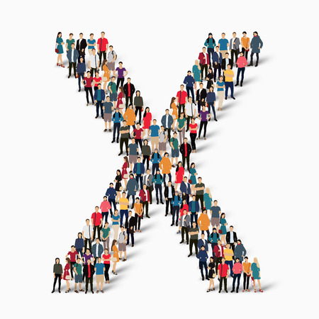 letter: A large group of people in the shape of the letter X. Vector illustration. Illustration