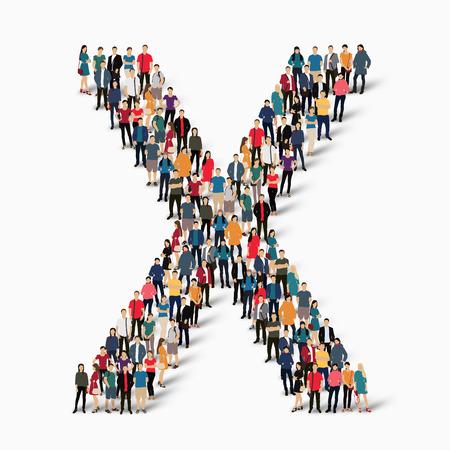 forme: Un grand groupe de personnes dans la forme de la lettre X. Vector illustration. Illustration