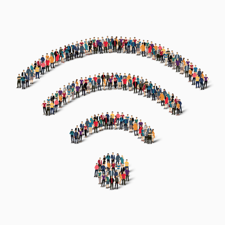 large  group: A large group of people in the shape of wireless