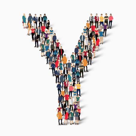 forme: Un grand groupe de personnes dans la forme de la lettre Y. Vector illustration.