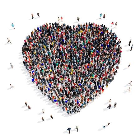 forme: groupe Grand et créatif des personnes rassemblées sous la forme d'un c?ur. 3d illustration, isolé, fond blanc. Banque d'images