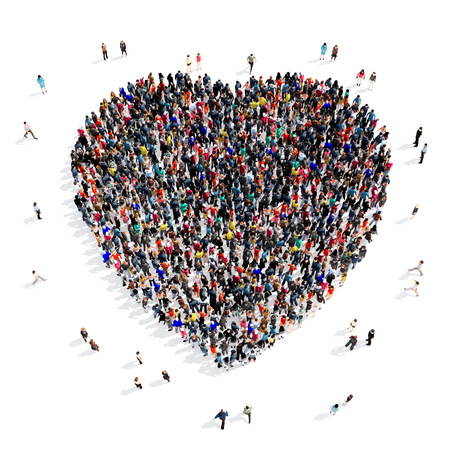 Large and creative group of people gathered together in the shape of a heart . 3d illustration, isolated, white background. Stock Photo