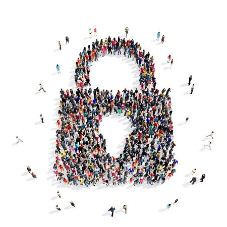 storage: Large and creative group of people gathered together in the shape of a lock . 3d illustration, isolated, white background.