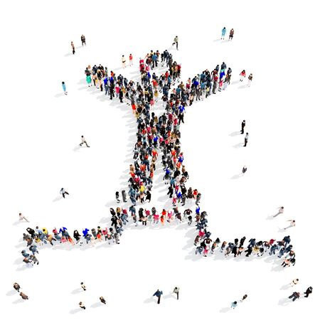 politican: Large and creative group of people gathered together in the shape of the podium, the champion. 3d illustration, isolated, white background.