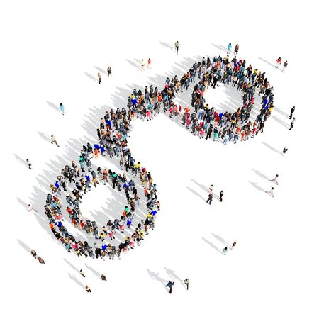 obsessed: Large and creative group of people gathered together in the shape of a handcuffs . 3d illustration, isolated, white background.