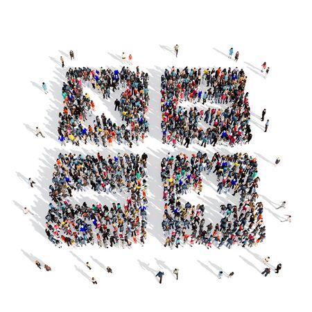 signos matematicos: Grande y creativa grupo de personas se reunieron en la forma de unos signos matemáticos. Ilustración 3D, aislado, fondo blanco.