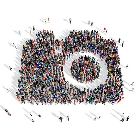 tv camera: Large and creative group of people gathered together in the shape of a camera,pictures . 3d illustration, isolated, white background.