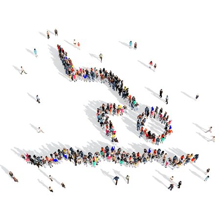 sport man: Large and creative group of people gathered together in the shape of a man jumping in the water sport. 3D illustration, isolated, white background.