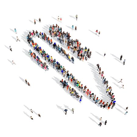 moguls: Large and creative group of people gathered together in the shape of man, bobsled sport. 3D illustration, isolated, white background.