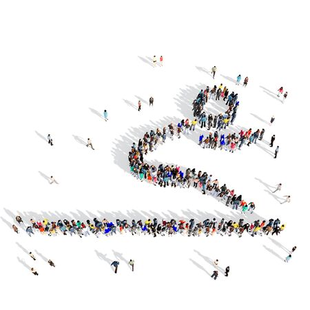 long jump: Large and creative group of people gathered together in the shape of a man, long jump, competition, sport. 3D illustration, isolated against a white background.